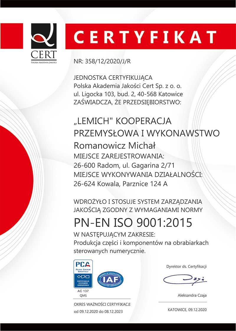 lemich certyfikat ISO 9001